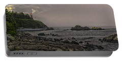 Portable Battery Charger featuring the photograph Late Afternoon Sun On West Quoddy Head Lighthouse by Marty Saccone