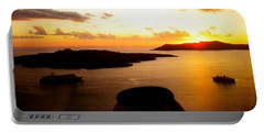 Late Sunset Santorini  Island Greece Portable Battery Charger