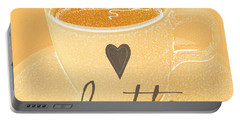 Latte Love In Orange And White Portable Battery Charger