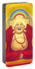 Laughing Rainbow Buddha Portable Battery Charger by Sue Halstenberg