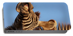 Laughing Zebra Portable Battery Charger by Nick  Biemans