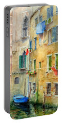 Portable Battery Charger featuring the painting Laundry Day by Bonnie Rinier