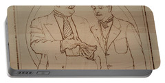 Laurel And Hardy - Thicker Than Water Portable Battery Charger by Sean Connolly