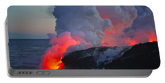 Lava Flow At Sunset In Kalapana Portable Battery Charger by Venetia Featherstone-Witty