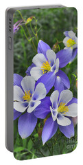 Portable Battery Charger featuring the digital art Lavender And White Star Flowers by Mae Wertz