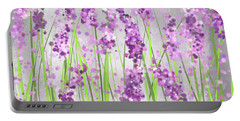 Lavender Blossoms - Lavender Field Painting Portable Battery Charger