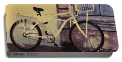 Portable Battery Charger featuring the photograph Lavender Door And Yellow Bike by Ecinja Art Works