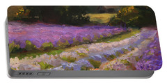 Lavender Farm Landscape Painting - Barn And Field At Sunset Impressionism  Portable Battery Charger