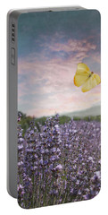 Lavender Field Pink And Blue Sunset And Yellow Butterfly Portable Battery Charger