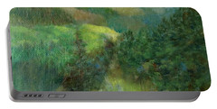 Layers Of Mountain Ranges Colorful Original Landscape Oil Painting Portable Battery Charger