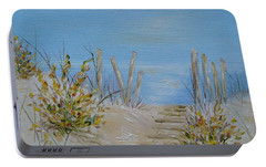 Portable Battery Charger featuring the painting Lbi Peace by Judith Rhue