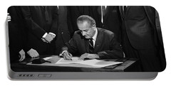 Lbj Signs Civil Rights Bill Portable Battery Charger by Underwood Archives Warren Leffler