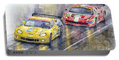 2011 Le Mans Gte Pro Chevrolette Corvette C6r Vs Ferrari 458 Italia Portable Battery Charger