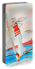 Portable Battery Charger featuring the painting Le Miroir Du Monde by Beth Saffer