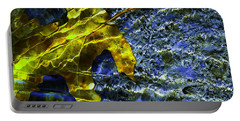 Leaf In Creek - Blue Abstract Portable Battery Charger
