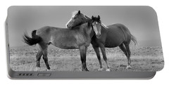 Lean On Me B And W Wild Mustang Portable Battery Charger