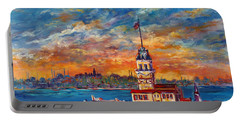 Portable Battery Charger featuring the painting Leanders Tower  Istanbul by Lou Ann Bagnall