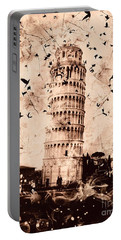 Leaning Tower Of Pisa Sepia Portable Battery Charger