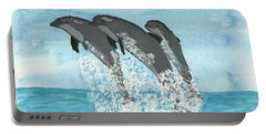 Leaping Dolphins Portable Battery Charger by Tracey Williams