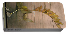Leaves On A Wooden Step Portable Battery Charger