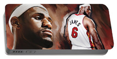 Lebron James Artwork 2 Portable Battery Charger by Sheraz A