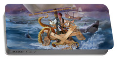 Portable Battery Charger featuring the painting Legendary Pirate by Rob Corsetti