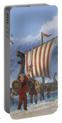 Portable Battery Charger featuring the painting Legendary Viking by Rob Corsetti