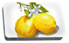 Lemons And Blossoms Portable Battery Charger by Irina Sztukowski