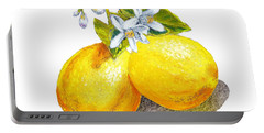Lemons And Blossoms Portable Battery Charger by Irina Sztukowski