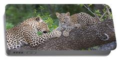 Leopard And Cub Masai Mara Kenya Portable Battery Charger