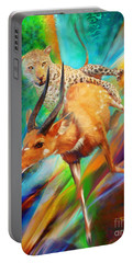 Portable Battery Charger featuring the painting Leopard Attack by Rob Corsetti