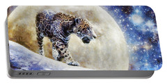 Portable Battery Charger featuring the painting Leopard Moon by Greg Collins