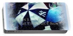 Let It Snow - Happy Holidays - Ny Yankees Holiday Cards Portable Battery Charger