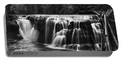 Lewis River Lower Falls Black And White Portable Battery Charger