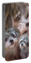 Portable Battery Charger featuring the mixed media Lhasa Apso by Carol Cavalaris