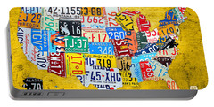 License Plate Art Map Of The United States On Yellow Board Portable Battery Charger