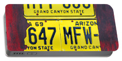 License Plate Map Of Arizona By Design Turnpike Portable Battery Charger by Design Turnpike
