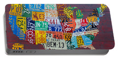License Plate Map Of The United States Portable Battery Charger by Design Turnpike