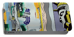 Lichtenstein's Painting With Statue Of Liberty Portable Battery Charger by Cora Wandel
