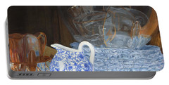 Portable Battery Charger featuring the painting Life Is A Carnival Glass by Lynne Reichhart