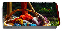 Portable Battery Charger featuring the photograph Life Is Just A Basket Of Yarn by Lesa Fine