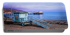 Lifeguard Tower And Malibu Beach Pier Seascape Fine Art Photograph Print Portable Battery Charger