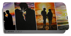 Portable Battery Charger featuring the painting Life's A Beach by Tamir Barkan