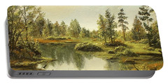 Portable Battery Charger featuring the painting Light After The Storm by Sorin Apostolescu