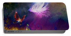 Portable Battery Charger featuring the painting Light Feather by Lilia D