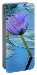 Light Purple Water Lily Portable Battery Charger by Pamela Walton