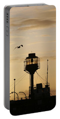 Light Ship Silhouette At Sunset Portable Battery Charger