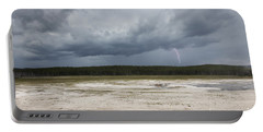Lightening At Yellowstone Portable Battery Charger by Belinda Greb