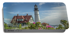 Lighthouse And Wild Roses Portable Battery Charger by Jane Luxton