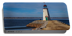 Lighthouse At East Wharf Portable Battery Charger by Doug Long